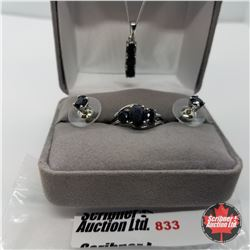 """Set - Midnight Blue Sapphire Size 7 (20"""") - Sterling Silver"""