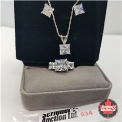 """Set - Simulated Diamond Size  7 (18"""") - Sterling Silver"""