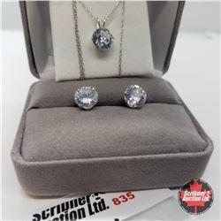 "Set - Simulated Diamond (18"") - Sterling Silver"