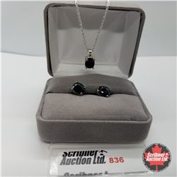 Set - Black Sapphire - Sterling Silver