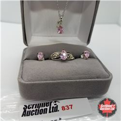 """Set - Simulated Pink Sapphire Size 8 (18"""") - Sterling Silver"""