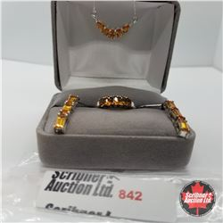 "Set - Orange Sapphire Size 7 (18"")  - Platinum Bond Overlay"
