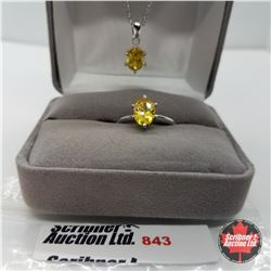 "Set - Simulated Yellow Diamond Size 7 (20"") - Sterling Silver"