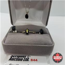 """Set - Black Spinel Size 8 (16"""") - Sterling Silver"""