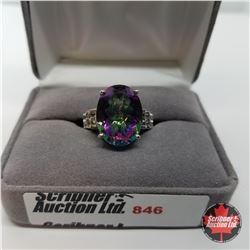 Ring - Size 8: Northern Lights Topaz - Sterling Silver - Platinum Bond Overlay (w/Box)