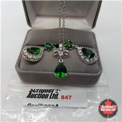 """Set - Simulated Emerald Pear Shape (20"""") - Sterling Silver"""