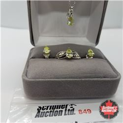 """Set - Simulated Green Sapphire Size 8 (18"""") Sterling"""