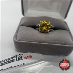 Ring - Size 8: Simulated Yellow Diamond - Stainless