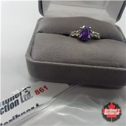 Ring - Size 8: Simulated Purple Sapphire - Sterling Silver - Stainless
