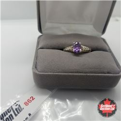 Ring - Size 8: Simulated Purple Sapphire Simulated Diamond Sterling