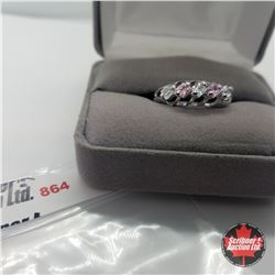 Ring - Size 8: Simulated White & Pink Diamond - Sterling Silver - Stainless