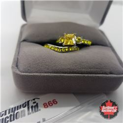 Ring - Size 8: Simulated Yellow Diamond Set - Sterling Silver - Stainless