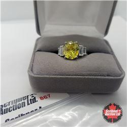Ring - Size 8: Simulated yellow & White Diamond Platinum Bond Overlay