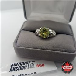 Ring - Size 8: Simulated Yellow Diamond - Sterling Silver