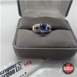 Ring - Size 8: Chinese Fluorite Blue Sapphire - Sterling Silver - Platinum Bond Overlay