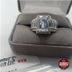 Ring- Size 8: Simulated Diamond Platinum Bond Overlay