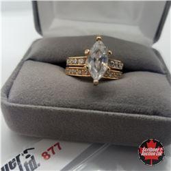 Ring - Size 8: Simulated Diamond Rose Gold Overlay Set