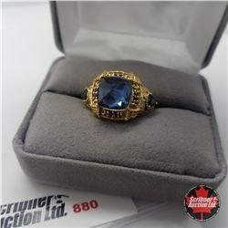Ring - Size 8: Titanium Blue Quartz - Stainless - 18k ION Plated Overlay