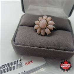Ring - Size 8: Peruvian Pink Opal - Sterling Silver - Platinum Bond Overlay