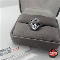 Ring - Size 8: Marcasite & Simulated Diamond - Sterling Silver