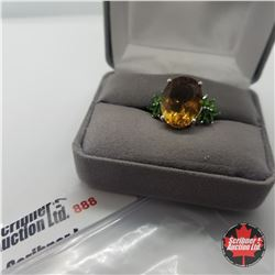 Ring - Size 7: Alexite Russian Diopside - Sterling Silver - Platinum Bond Overlay