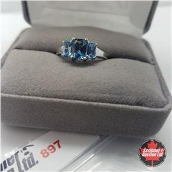 Ring - Size 8: London Blue Swiss Topaz - Sterling Silver - Platinum Bond Overlay