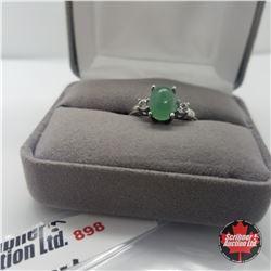 Ring- Size 8: Emerald Quartz Stainless