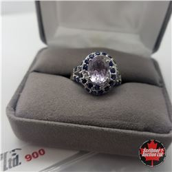 Ring - Size 8: Rose Amethyst (Lab) - Sterling Silver - Platinum Bond Overlay