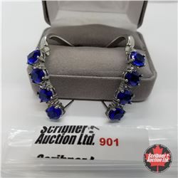 Earrings - Simulated Blue Sapphire Platinum Overlay