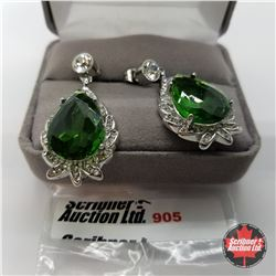 Earrings - Simulated Emerald - Sterling Silver
