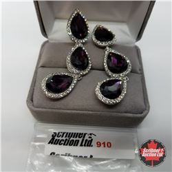 Earrings - Simulated Purple Sapphire Austrian Crystal - Sterling Silver