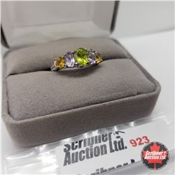 Ring- Size 8: Amethyst Rose de France Citrine Peridot Platinum Bond Overlay