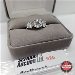 Ring - Size 8: Simulated Diamond 3 Stone Platinum Bond Overlay