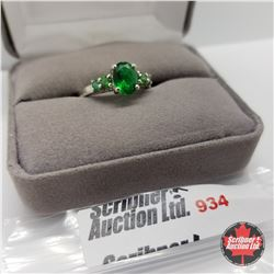 Ring - Size 8: Simulated Emerald - Sterling Silver