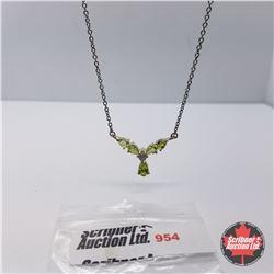 "Necklace - Peridot Simulated Diamond (20"") - Sterling Silver"