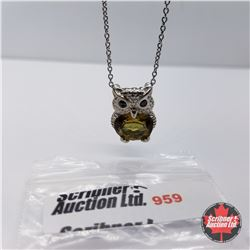 """Necklace - Alexite Owl  (20"""") - Sterling Silver"""