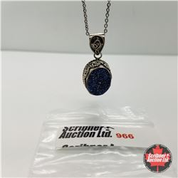"""Necklace - Blue Drusy (20"""") -  Silver w/Sterling Silver Chain"""