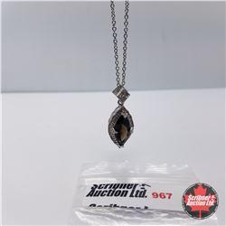 "Necklace - Smokey Quartz Diamond (20"") - Sterling Silver"