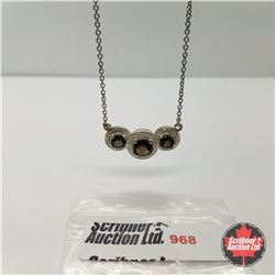 "Necklace -Brazilian Smokey Quartz (18"") - Sterling Silver"
