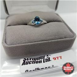 Ring - Size 8: London Blue Topaz - Sterling Silver - Platinum Bond Overlay