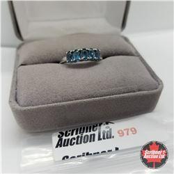 Ring - Size 8: London Blue 5 Stone - Platinum Bond Overlay