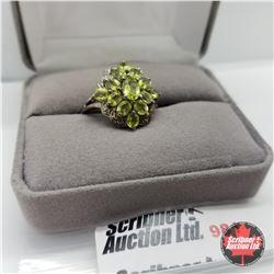 Ring - Size 8: Peridot Diamond Platinum Overlay
