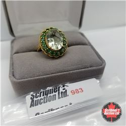 Ring - Size 7: Prasiolite Simulated Green Diamond ION - Sterling Silver