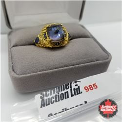Ring - Size 7: Blue Sapphire - Sterling Silver - 18k ION Plated Overlay