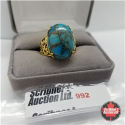 Ring - Size 9: Turquoise - Sterling Silver - Stainless 14k Overlay