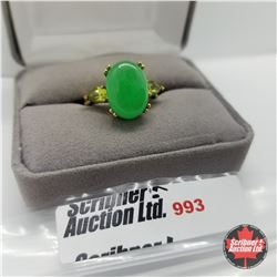 Ring - Size 7: Jade & Peridot - Sterling Silver - Stainless 14k Overlay