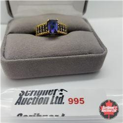 Ring - Size 7: Titanium Blue Quartz  - Stainless 14k Overlay