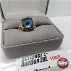 Ring - Size 7: Titanium Blue Quartz Stainless - 18k ION Plated Bond Overlay
