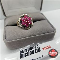 Ring - Size 7: Swiss Marcasite & Simulated Red Diamond - Sterling Silver