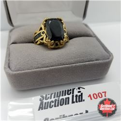 Ring - Size 7: Black Spinel - Sterling Silver - 18k ION Plated Bond Overlay